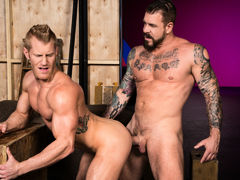Tattooed muscle boy Rocco Steele locks lips with ginger-blond hunk Johnny V. Johnny touches Rocco's massive cock, then sinks to his knees to perform oral worship. Few chaps could manage Rocco's heavy girth and length, but Johnny shows off just how good h daddy gay movies
