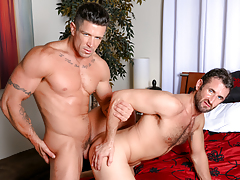Trenton twists CJ over the bed & opens his begging wazoo up daddy gay movies