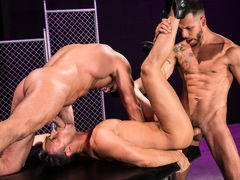 Naked except for their ebony leather boots, three horny men indulge their primal urges. Hairy bodybuilder Bruce Beckham and tatted FX Rjos stand over smooth Josh Conners, who is crouching with his spread waste cheeks in the air. Bruce and FX take turns ri daddy gay movies