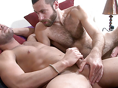 Scruffy heartthrob Seth seeds Marcos Mateo in this scene. Marcos instigates by eagerly deep-throating Seth's thick shaft. Seth then lubes up Marcos' hole with a deep tonguing before thrusting his uncovered cock deep inside. The look on Marcos' face i