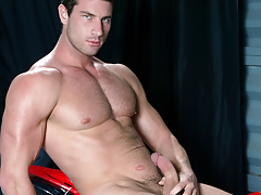 Rusty Stevens jerks his man meat and cums on his motorcycle daddy gay movies