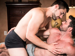 Muscular older gentleman Billy Santoro fucks gorgeous younger gentleman Griffin Barrows in a hot, clandestine fucking scene filled with kissing, rimming and foreplay culminating in double explosive cum shots and deep after-sex kissing. Wild and passionate daddy gay movies