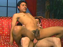 Handsome dilf fuck a hot hispanic twink in his living room