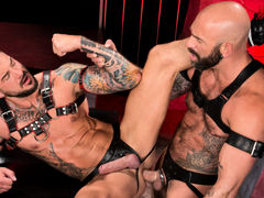 Colored ink, muscle, fur and pecker compete for your attention as Drew Sebastian and Dolf Dietrich lie entwined, making out and exploring their massive flesh. Each wears a harness and a leather jock strap with a pecker opening. Drew leans over to suck Dol daddy gay movies