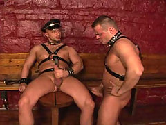 Gay sex action in the dungeon with two hot studs fucking ! daddy gay movies