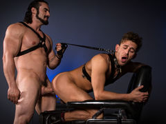 With a slender cane in his grip, Jaxton Wheeler menaces his sub, Alexander Gustavo. Pulling back the lean rod, Jaxton lets it slap across Alexander's bare, unprotected ass and legs. Jaxton penetrates Alexander's tight hole using a cane with a sphere on th daddy gay movies