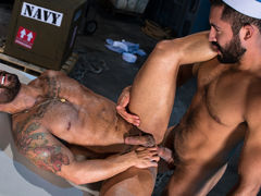 Bruno Bernal is going over some paperwork when Gabriel Taurus sneaks up from behind. Gabriel embarks on passionate kissing, their dark beards rubbing together. Opening his fly, Gabriel pulls out his thick, hefty cock, and Bruno eagerly strokes it. Falling daddy gay movies