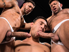 3 men stand in a black room, their white jockstraps barely containing their giant boners. FX Rios is tatted, pierced, and lean. Josh Conners is handsome, smooth, and muscled. Bruce Beckham is a unshaved bodybuilder with a macho attitude. After raw play wi daddy gay movies