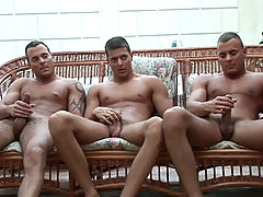 The triplets backstage in their pool scene featuring Enrico!