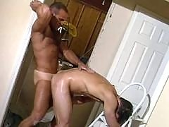 Latino hunk gets plugged and jizzes
