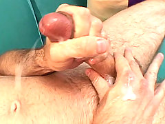 Stud DILF anally toying with some big ass toys on his bed daddy gay movies