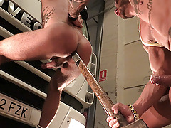 Hitchhiker Martin jumps into a truck hoping to be taken to Madrid, but arrogant trucker has other plans for him. He'll have to suck a lot of cock and become a good sex toy if he wants to be home tonight.