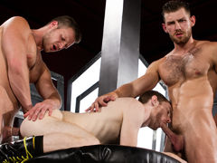 Toned and scruffy Jacob Peterson and Brian Bonds trade spit, literally, as Seamus O'Reilly teases Jacob's hairy nipples. Mouths are quickly filled with hard cocks as the boys oral pleasure sex each other off in an oral pleasure power tower. Brian feeds hi daddy gay movies