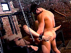 Master tie that slave up and uses him as a sex toy in here !